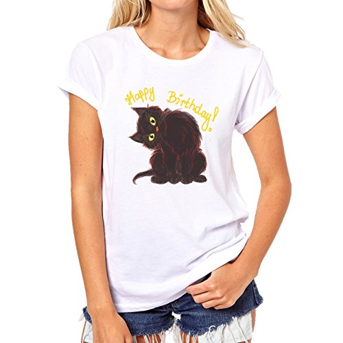 Happy Birthday Cat Cute Pussy Brown Damen T-Shirt Weiß