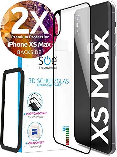 smart engineered Schutzglas Rückseite kompatibel mit iPhone XS Max | Premium Frame Line Schwarz [2 Stück] volle randlose Abdeckung [absolut passgenau mit Rand] mit Schablone Rahmen [3D Touch]