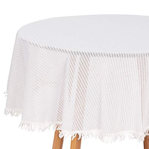 HOLISTAR 0800138 Gartentischdecke Rund in Weiß 160 cm Tischdecke mit Quaste Tischtuch aus Weichschaum rutschfest wetterfest witterungsbeständig Outdoor - Schönen Speisesaal Möbel