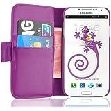 JAMMYLIZARD | Wallet Ledertasche Hülle für Samsung Galaxy S4, LILA