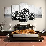 LA VIE 5 Teilig Wandbild Dekoration Ölbild Schwarzes Motorrad Leinwanddrucke Bilder Moderne Kunstdruck für Zuhause Wohnzimmer Schlafzimmer Küche Hotel Büro Geschenk