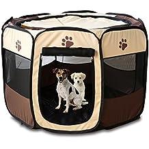 OCCIENTEC Parque portátil plegable para mascotas para uso en interiores y exteriores, resistente al agua, cubierta de sombra extraíble para perros/gatos/conejos 71,12 x 71,12 x 45,72 cm (marrón)