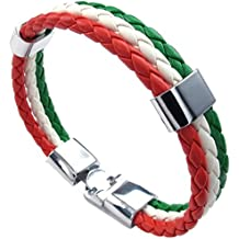 541dab53a88bf SODIAL Bijoux a bracelet Bracelet tisse en alliage en cuir a couleur de  drapeau italien pour