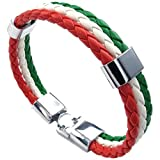 Gesponnenes Armband - SODIAL(R) Schmuck Armband, Italienische Flagge Armreif, Leder Legierung, fuer Herren Damen, Gruen Weiss Rot(Breite 14mm,Laenge 23cm)