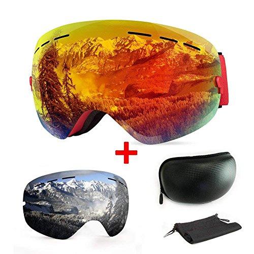 Skibrille, mit Beschlag- und UV-Schutz, für Wintersportarten, Snowboardbrille mit austauschbarer, sphärischer Dual-Linse, für Männer, Frauen und Jugendliche, für Schneemobil-, Skifahren oder Skaten, Orange