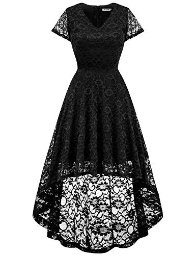 bbonlinedress Damen Elegant Spitzenkleid Kurzarm Cocktail Rockabilly Party Hi-Lo Kleid Black M
