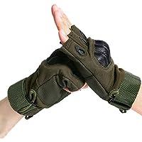 1 par Hombres Dedos Trabajo Guante para Motocicleta Bicicleta Ciclismo Cámping Alpinismo Excursionismo a Campo Traviesa Esquí Deportes al Aire Libre Guantes sin Dedos (Verde del Ejército, M) (Mitad dedo guantes)