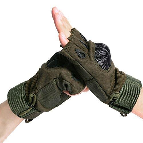 1 paar Herren Hälfte Fingerhandschuhe für Motorrad das Reiten Radfahren Kampieren Kletterei Wandern Outdoor-Sportarten Fingerlose Handschuhe (Armee-Grün, M)