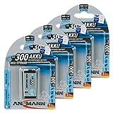 ANSMANN maxE 9V Block Typ 300 (min. 270mAh) vorgeladener 9V Akku geringe Selbstentladung Akkubatterie (4er Pack)