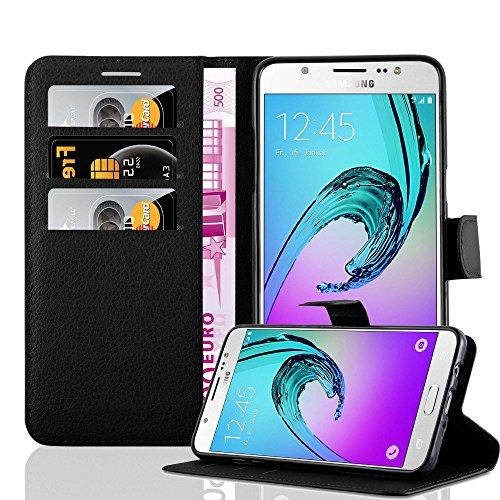 Cadorabo Funda Libro para Samsung Galaxy J7 2016 en Negro Fantasma – Cubierta Proteccíon con Cierre Magnético, Tarjetero y Función de Suporte – Etui Case Cover Carcasa