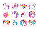 24 x Unicorn Tattoo Temporary - (Pack of 2 x 12 Tattoos) - Childrens Birthday Xmas Gift Party Bag Stocking Filler Fun Arts and Crafts Book Sketch Book for Girls and Boys Kids Toy - By Guilty Gadgets (TATTOOS UniCorn x 24)