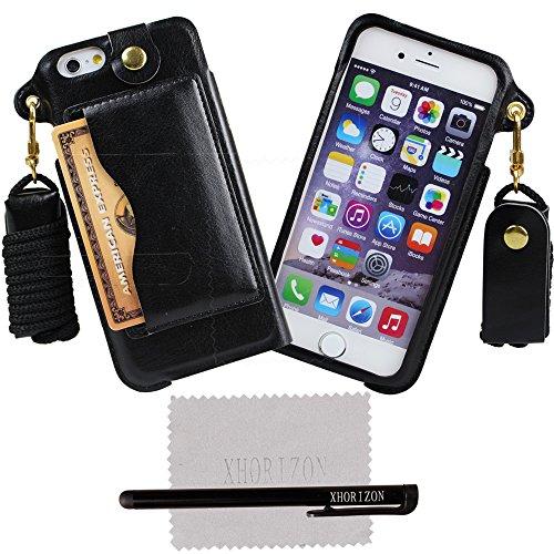 xhorizon® Bändsel PU LederTasche Kartenhalter Stand Case Hülle für 4.7 Inch iPhone 6 Schwarz