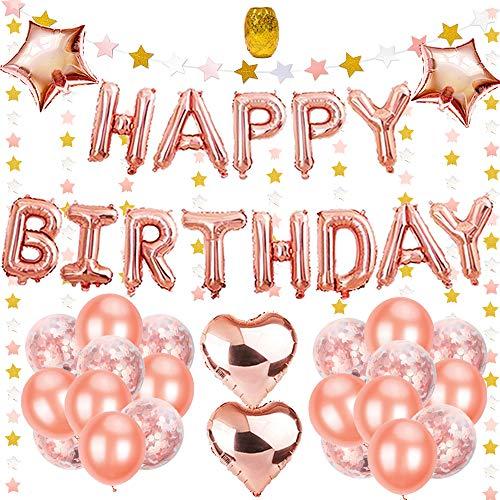 """Geburtstagsdeko Mädchen Rosegold, Deko Geburtstag Mädchen mit 16"""" Happy Birthday Banner, 25Pcs 12"""" Ballons und 4Pcs 18 """" Folie Sterne Herz Ballons mit Goldenen String für Partyzubehör"""