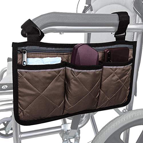 Hamkaw Rollstuhl Armlehnentasche Rollstuhl Seitentasche mit Reißverschluss und Reflexstreifen Rollstuhlzubehör Veranstalter Fit Walkers Rollatoren Scooters
