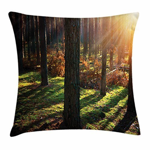 pigyear888 Woodland Throw Pillow Cushion Cover, Dry Leaves and Tall Trees in Mystical Scenic Forest in Autumn Peaceful Sunset View, Decorative Square Accent Pillow Case, 18 X 18 Inches, Multicolor
