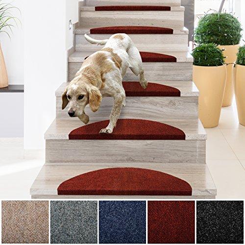 casa pura® Textilfaser - Stufenmatten für attraktive & sichere Treppenstufen | Set mit 15 Stück | robuste Allzweck-Matten für Stufen | verschiedene Farben ( rot ) (Roten Teppich Zurück)