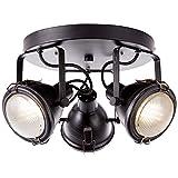 Brilliant Bentli Spotrondell 3 flg Deckenstrahler schwenkbar antik/schwarz Industrial Look, 3x GU10 geeignet für Reflektorlampen bis max. 7W