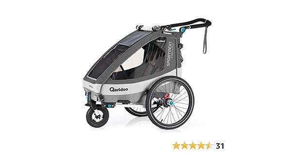 Qeridoo Sportrex 1 Children S Bicycle Trailer 1 Seater Adjustable Suspension Grey Sport Freizeit