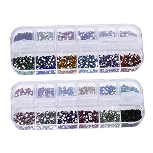 Contever® 6000 pcs 2mm Brillantini Strass Glitter Unghie nail-art glitter kit 12 Colori