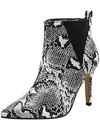ZHRUI Botas con Estampado de Piel de Serpiente para Mujer, para Mujer con Estampado de Serpiente Dedo del pie con…