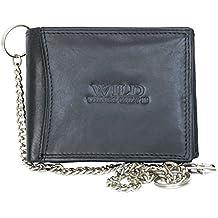 Billetera Wild negro estilo motero de cuero con cadena de metal a95cc3b66de