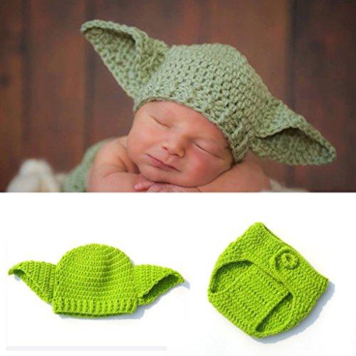 Tubicu Baby Star Wars Yoda-Kostüm, handgefertigt, gestrickt, für Neugeborene (Yoda Baby Star Wars Kostüm)