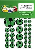 114 Aufkleber, Fußball, Sticker, 15-50 mm, grün/schwarz, aus PVC, Folie, bedruckt, selbstklebend, EM, WM, Bundesliga