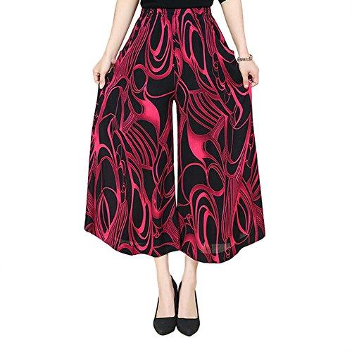NJunicorn Uncle Damen Bequem Elastische Taille Baumwolle&Leinen Hosenrock Weite Bein Blumenmuster Lange Hose Pumphose Schlabberhose (Art 25,XL) -
