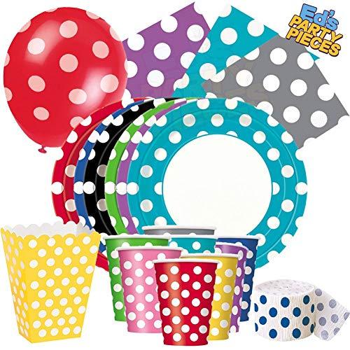 Party-Tischdecke für Geburtstage, Veranstaltungen, Gastronomie, Hochzeit, Anlass, Hot Pink Dots, 8 x 9 Round Plates
