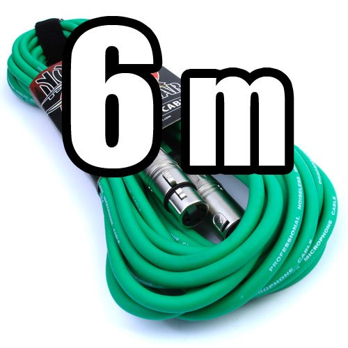 'No Bull Music Gear' Premium XLR Cable (Green, 6m): Achieve a Clearer Audio Signal with a High Quality Balanced Male to Female Microphone Lead, plus Free Velcro Cable Tie