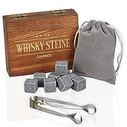 GOURMEO Whisky Steine aus natürlichen Speckstein in hochwertiger Holzbox I wiederverwendbare Eiswürfel, Whiskysteine, Whisky Stones, Kühlsteine, (9 Stück)