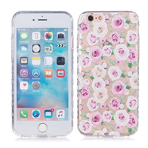 iPhone 6 Plus Hülle, E-Lush TPU Soft Silikon Tasche Transparent Schale Clear Klar Hanytasche für Apple iPhone 6/6S Plus(4,7 zoll) Durchsichtig Rückschale Ultra Slim Thin Dünne Schutzhülle Weiche Flexi Rose