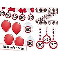 23-tlg. Partyset 30. Geburtstag Dekoset Dekobox - Verkehrschild - Girlanden, Luftballons