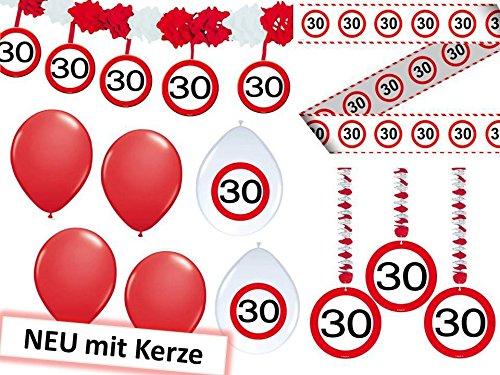 23-tlg. Partyset 30. Geburtstag Dekoset Dekobox – Verkehrschild – Girlanden, Luftballons