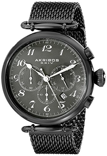 Akribos XXIV Hommes de rétro Montre chronographe Bracelet en Maille en Acier Inoxydable Noir