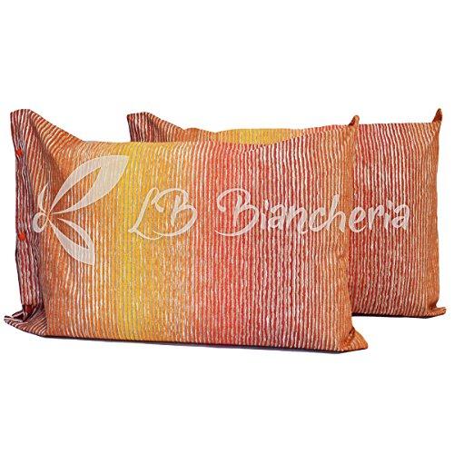 Coppia federe cuscino letto cm 52x82 amazonia, con bottoni clic clac - bordeaux-arancio