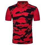 MRULIC Herren Casual Polo Camouflage Print Umlegekragen Shirt Top Bluse(Rot,EU-52/CN-L)