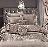 Alhambra Luxus Beige Bettüberwurf für Doppelbett, 3tlg Set 1 Beige Tagesdecke 230x250 cm + 2Kissenbezug 50x75cm Steppdecke Pintuck