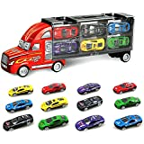 SINACO Transport Car Carrier Truck Toy for Boys Includes 12 Metal Cars Handheld Gift Package