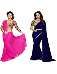 Navanya Couture Chiffon Saree With Blouse Piece (Mali339_Pink_Free Size)