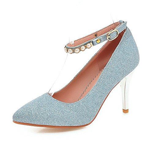 VogueZone009 Femme Pointu Boucle Tissu à Paillette Mosaïque à Talon Haut Chaussures Légeres Bleu