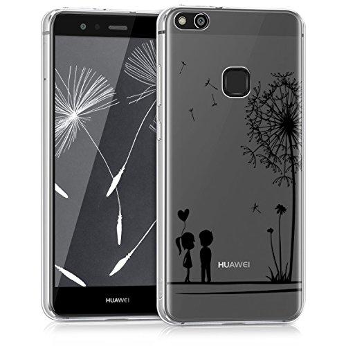 kwmobile Hülle für Huawei P10 Lite - TPU Silikon Backcover Case Handy Schutzhülle - Cover klar Pusteblume Love Design Schwarz Transparent