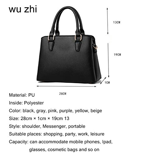 Pink Messenger Bag Multifunktion PU Handtasche Leder Soft WU ZHI Kapazität Damen Wild Große Schultertasche nFqOWTY4a