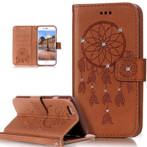 Custodia iPhone 6S, iPhone 6 Cover, ikasus® iPhone 6S/iPhone 6 Custodia Cover [PU Leather] [Shock-Absorption] Goffratura Embossing Floreale Fiore Cranio Campanula Modello Protettiva Custodia Cover con Campanula Marrone
