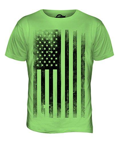 USA Stars and Stripes Flagge Aufdruck verblasst Herren T-Shirt Top Limettengrün