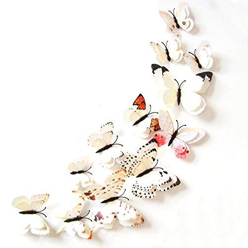 Home Decor 3D della farfalla di modo Animal Wall Sticker PVC farfalla di simulazione, 24pcs, Bianco