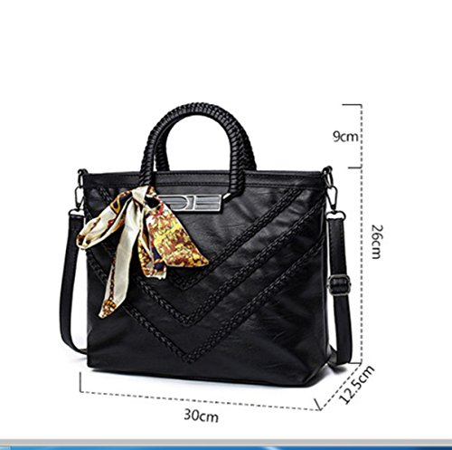 Frau Schultertasche Messenger Bag Handtasche Schal Schaffell-Muster Grey