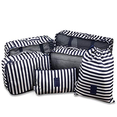 Spaher pieghevole set di 6 organizzatori di viaggio imballaggio cubi bagagli valigia borse di stoccaggio abbigliamento articoli da toeletta organizzatore di lavanderia i vestiti sacchetti blu navy