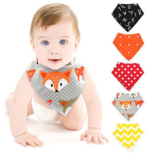 5 Stück Säugling/Kleinkinder Lätzchen Spucktuch aus reiner Baumwolle mit unterschiedlichen Muster und Farben. Neue Version