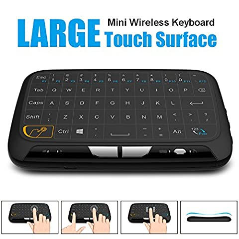 SIMCAST Pocket 2.4GHz Kabellose Tastatur Maus mit vollem Touchpad zum r Windows Mac Chrome Android TV Box, Kodi,HTPC, IPTV, PC, PS3 ,Xbox 360, Raspberry Pi 3,NVIDIA SHIELD TV(2017 Neue Ver, Weltweit erste Full-Touch-Tastatur)